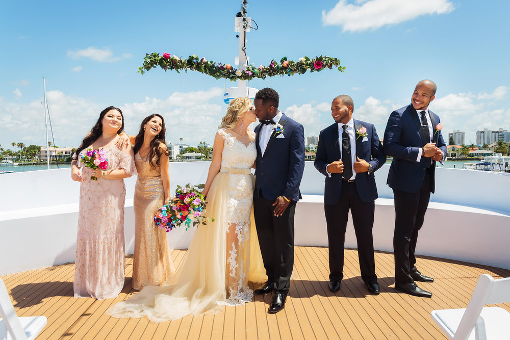 wedding party, bridal party, yacht starship, wedding photography, mixed races, black and white, limelight photography