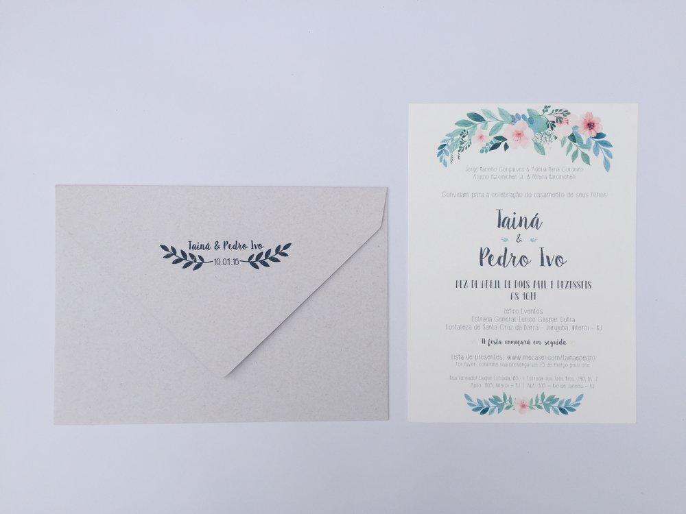 Renata&Tarso - Papel: texturizado 250gEnvelope: aba bico papel recicladoAcabamento: sisal + tagTamanho: 21x15 cmOs convites são entregues finalizados, incluindo barbante e tag com nome dos convidados.{ a partir de R$ 9,50 }ITENS PERSONALIZÁVEIS: texto, tag, papel e barbante
