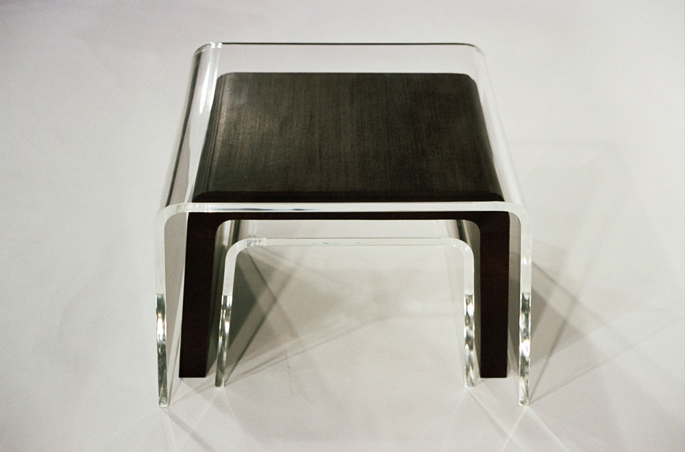 Nesting Tables, 2005, acrylic and wenge by Amy Devers for the series  Freeform Furniture  on DIY Network