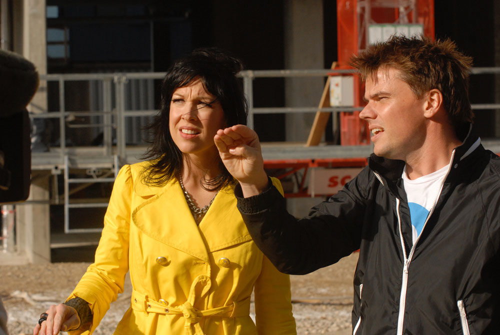 Devers gets the lowdown from architect Bjarke Ingels on the 8 House construction site while filming  Designer People