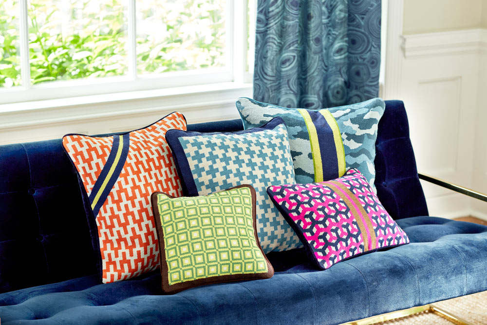 Geo Needlepoint pillow collection