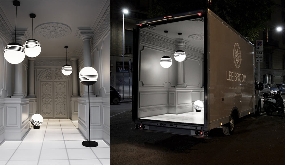 """Salone del Automobile"" lighting and interior installation inside of a delivery van that Lee drove from London to Milan for Salone del Mobile."