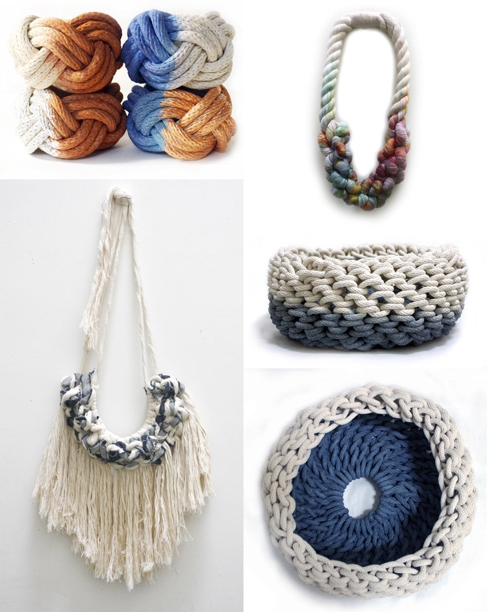 Tanya's rope jewelry, wall hangings and fiber housewares