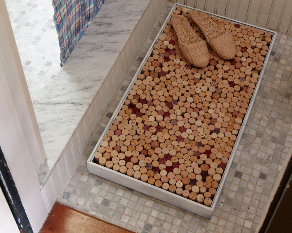 Upcycled bath mat made with corks
