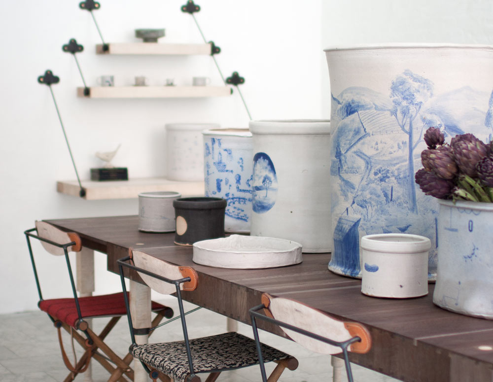 Hand-painted ceramics on display in the BDDW NYC store made from clay dug outside their workshop in Philadelphia