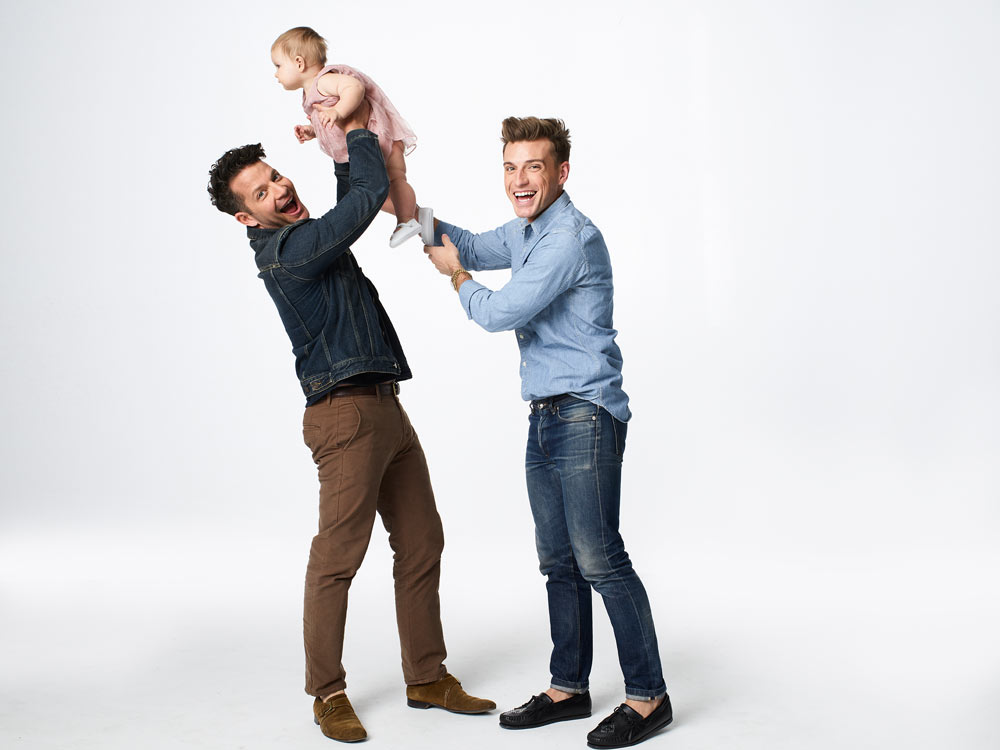 Nate with daughter Poppy and husband Jeremiah Brent