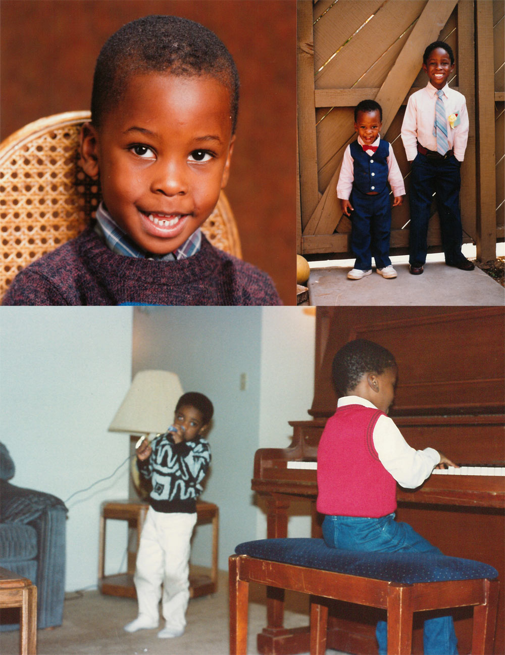 Top left: Young Ini; Top right: Ini with his older brother Koko; Bottom: Ini playing piano