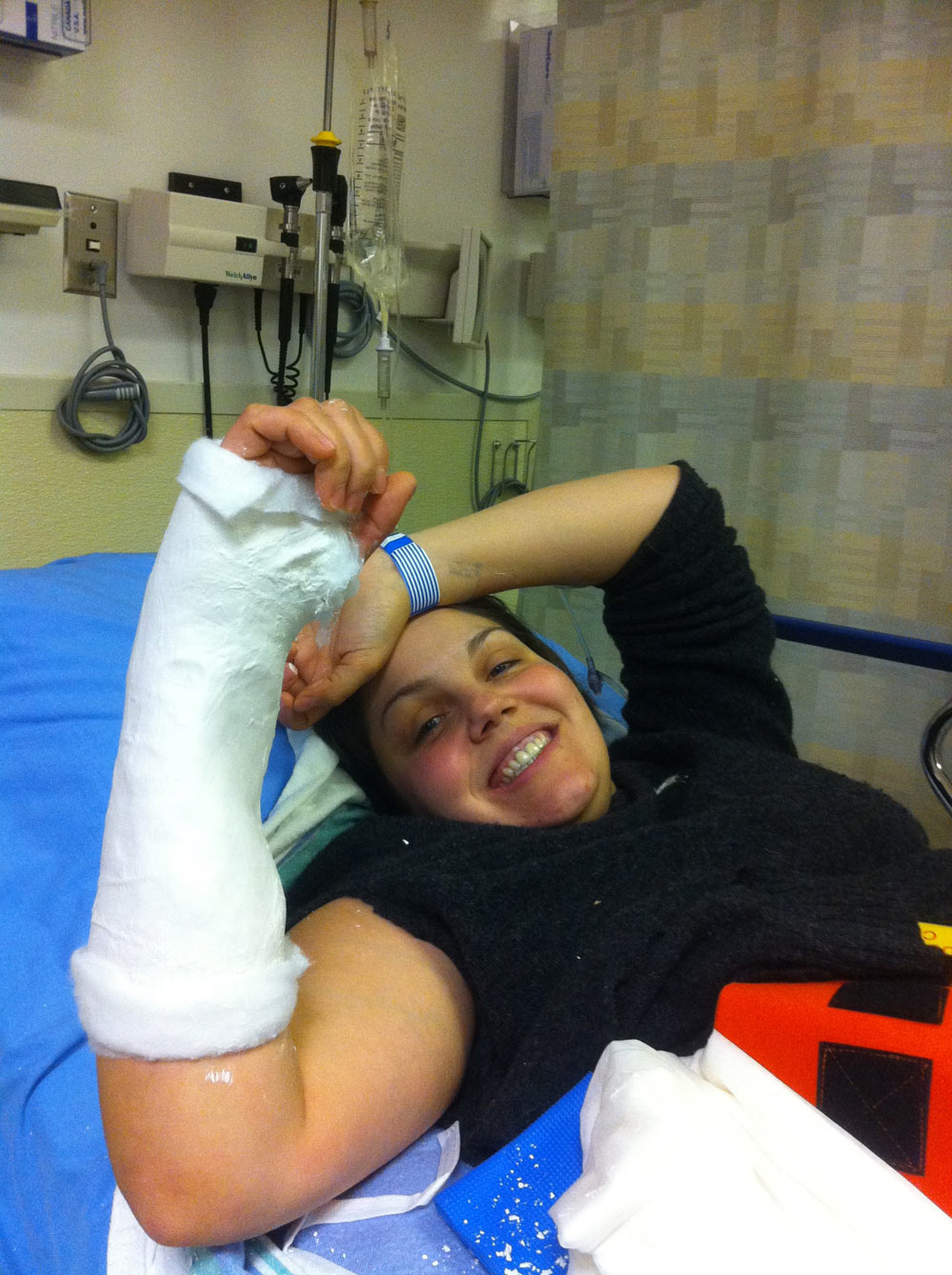 Rehab from her bike accident, 2012