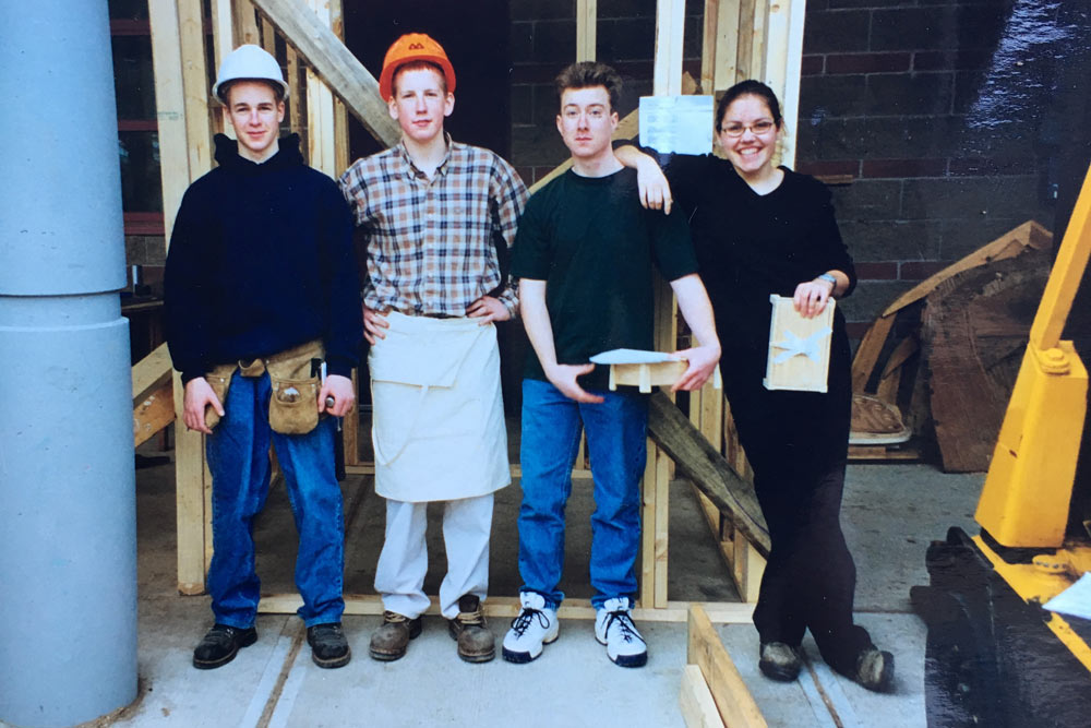 At a woodworking competition in 1998.