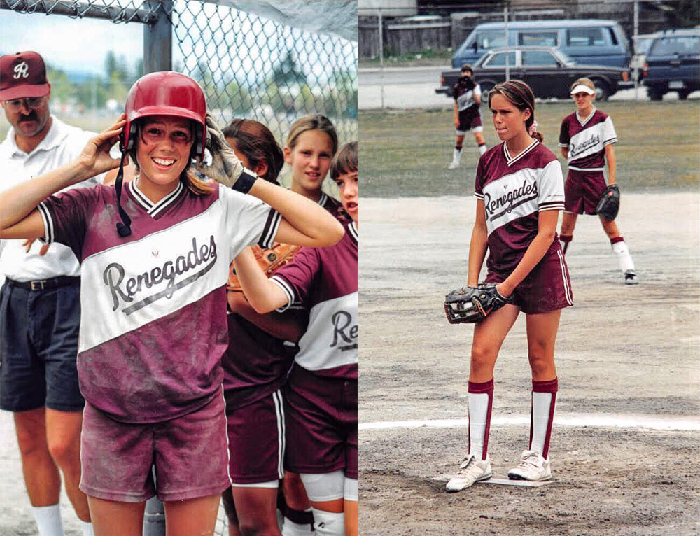13-year-old Zoë playing for the Renegades in B.C. Fastpitch as pitcher