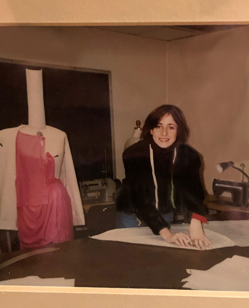 "Gina at Parsons: ""Parsons School of Design senior year. Three years of construction, draping and illustration. A perfect education for a costume concept artist."""