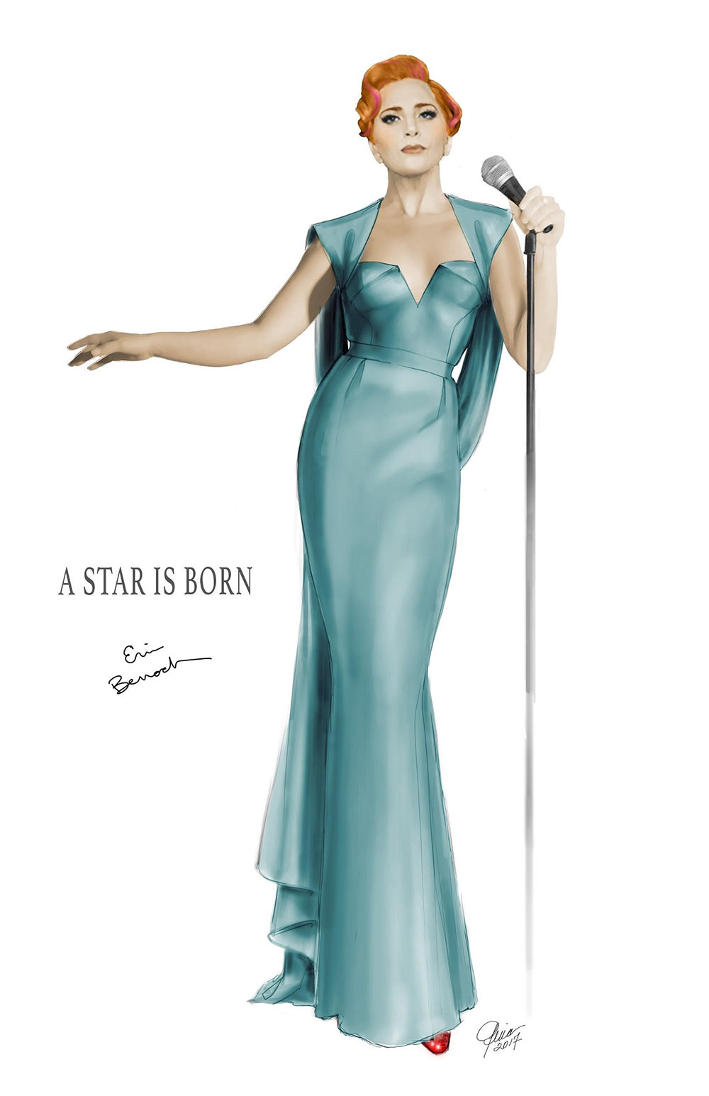 Final performance illustration for Lady Gaga in A Star is Born / Designer: Erin Benach