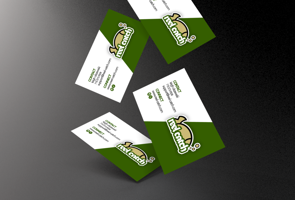 Business cards we designed for Reel Catch