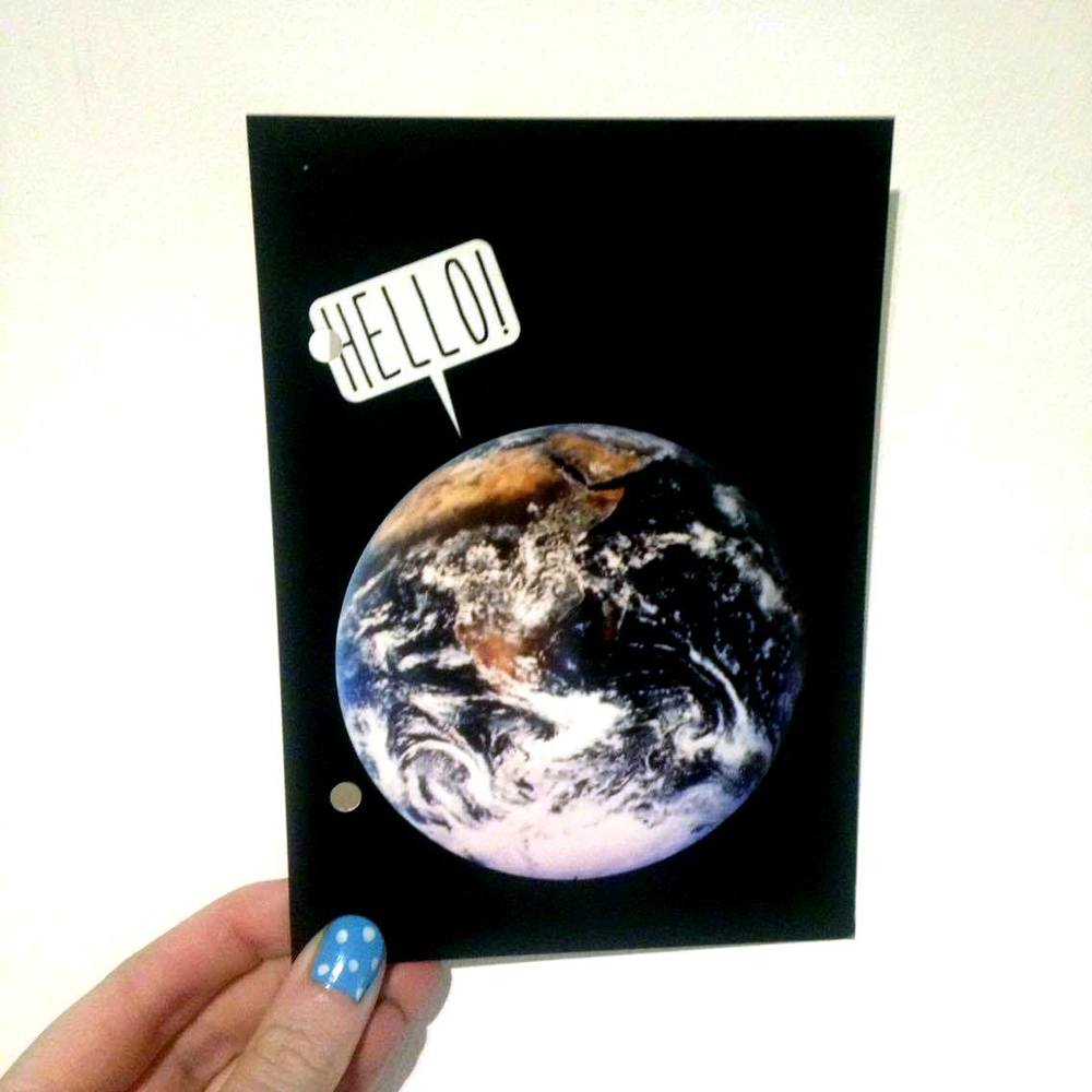 Hello World postcard, sending love to Brussels.
