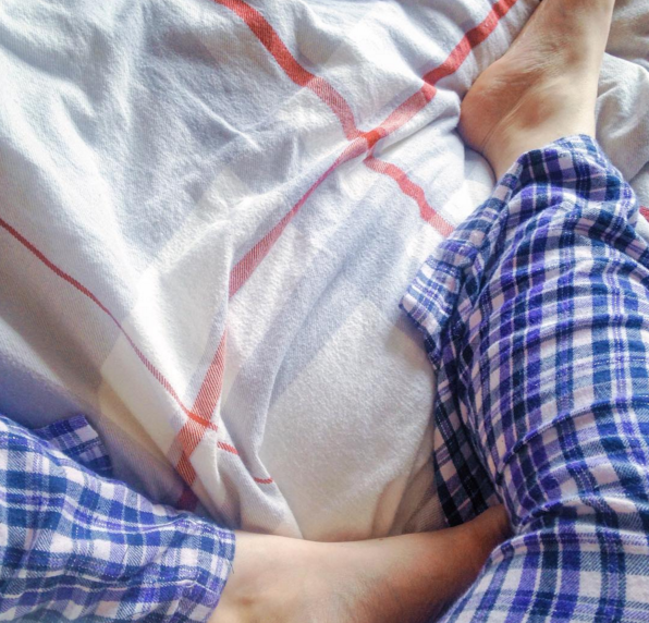 Cosy bedsheets and tartan pjs.