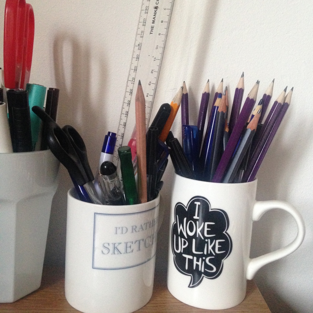 I'd Rather Be Sketching mug - old stock from Hobbycraft,   I Woke Up Like This mug - old stock Primark.