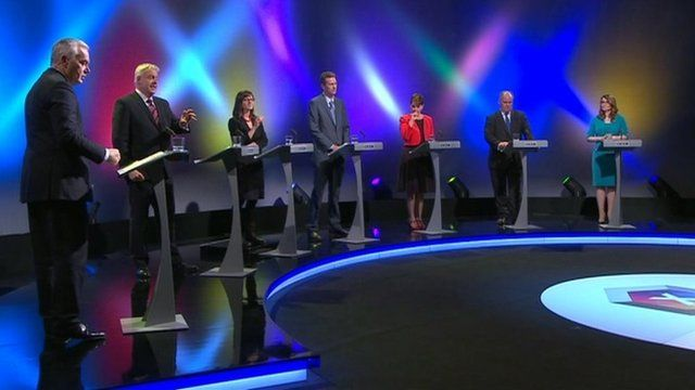 Welsh Leaders debate; image source  BBC Wales news .