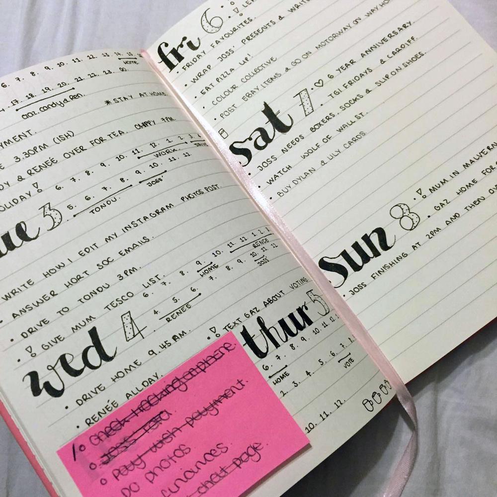 Bullet Journal First Week Look.