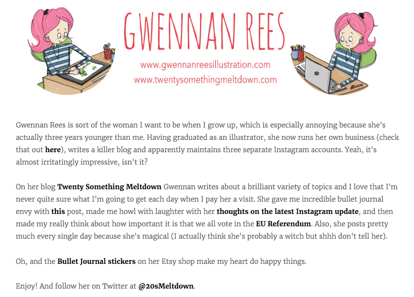 This is what the babe that is Rebecca wrote about my blog.