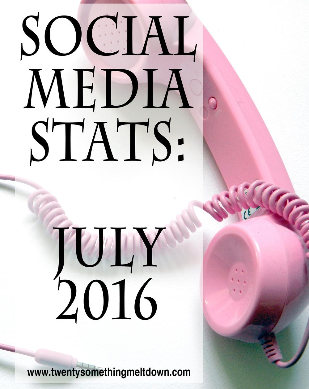 Social Media Stats - July 2016.