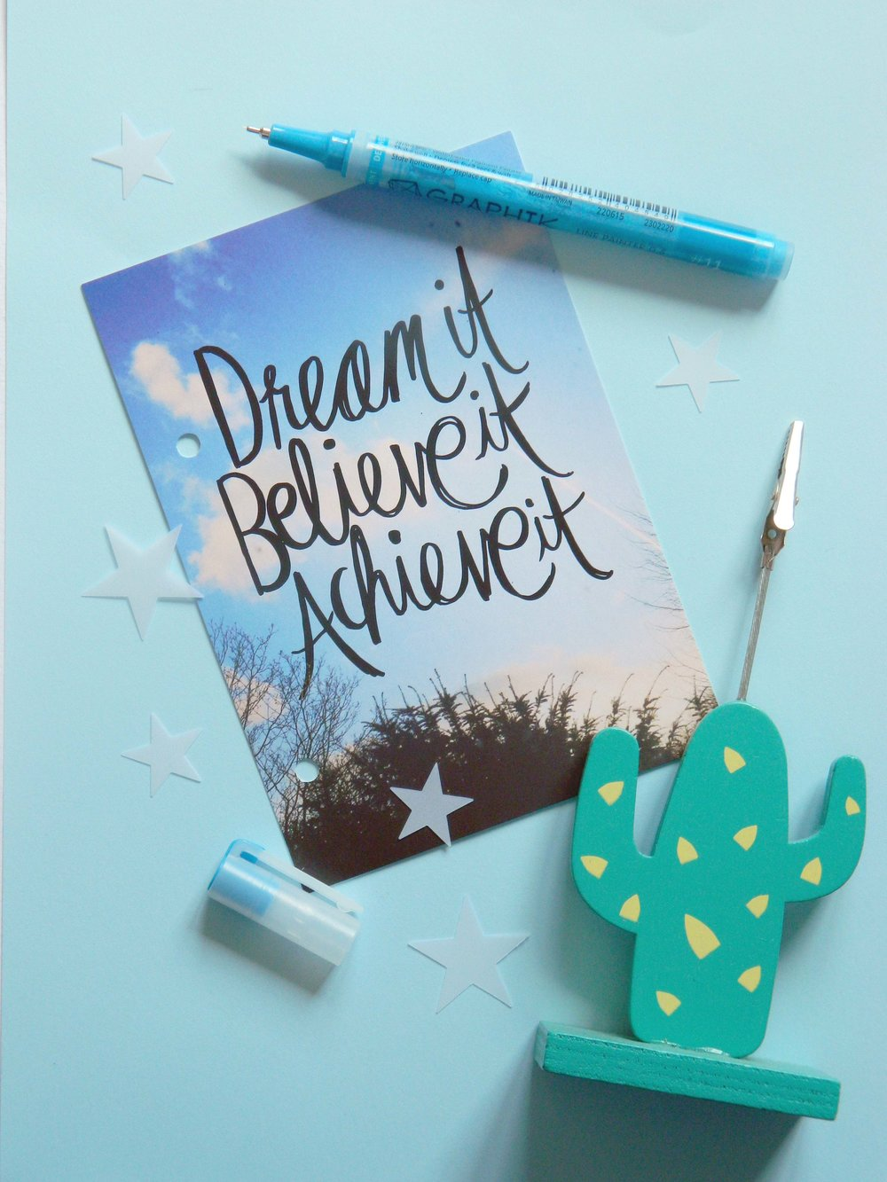 Dream It, Believe It, Achieve It postcard - Paperchase.