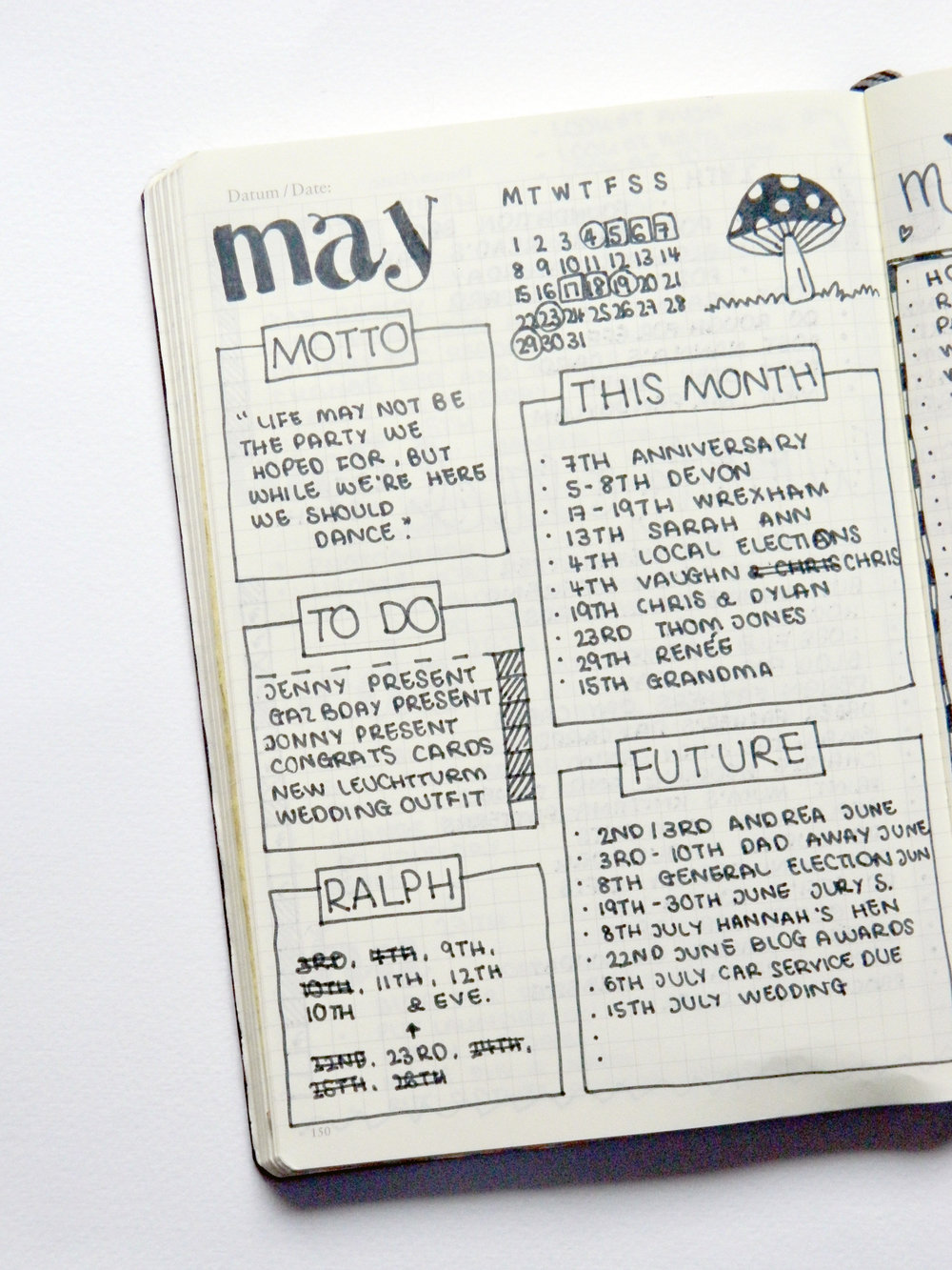 my may 2017 bullet journal