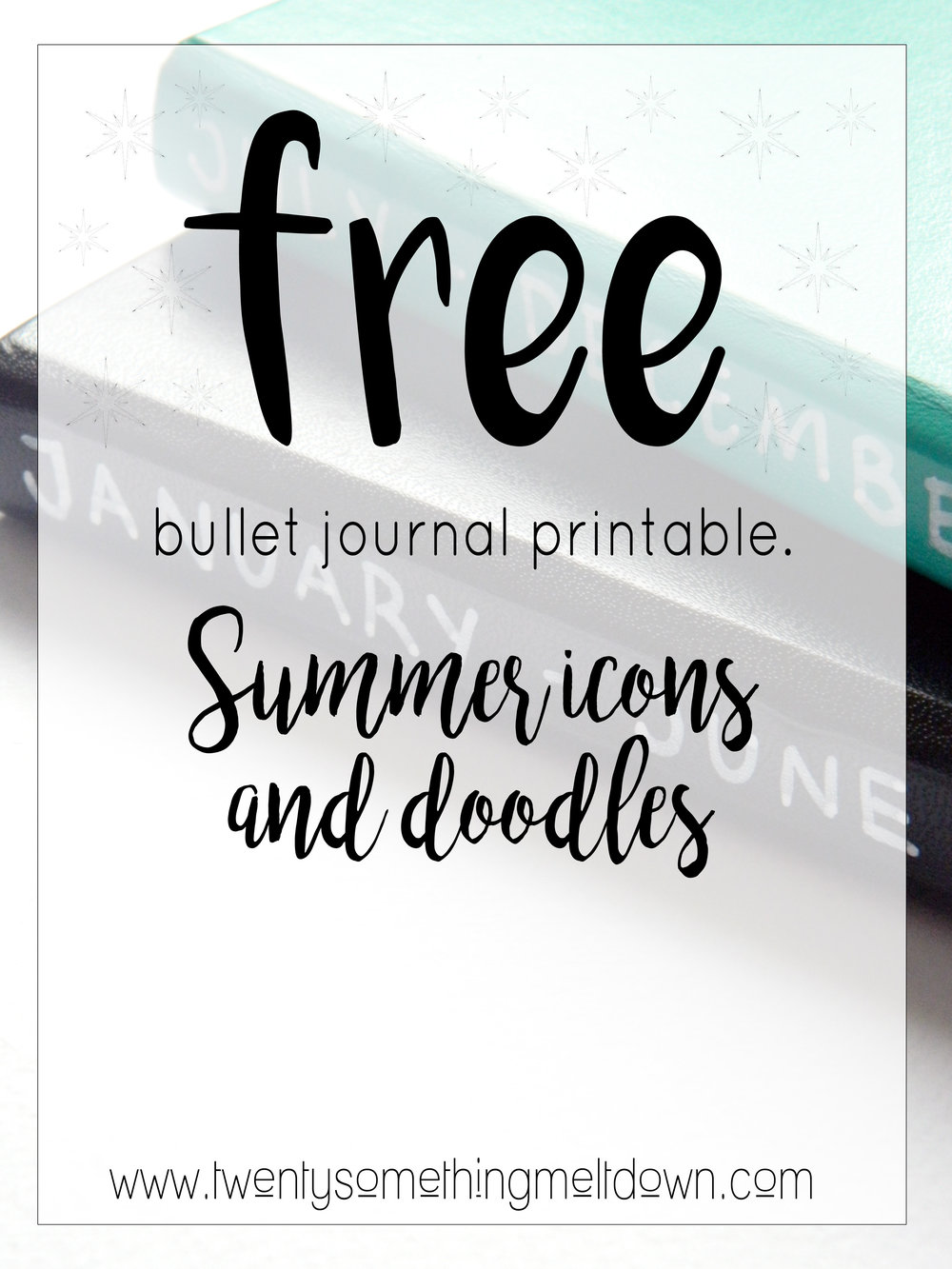 Free bullet journal printable, summer icons.