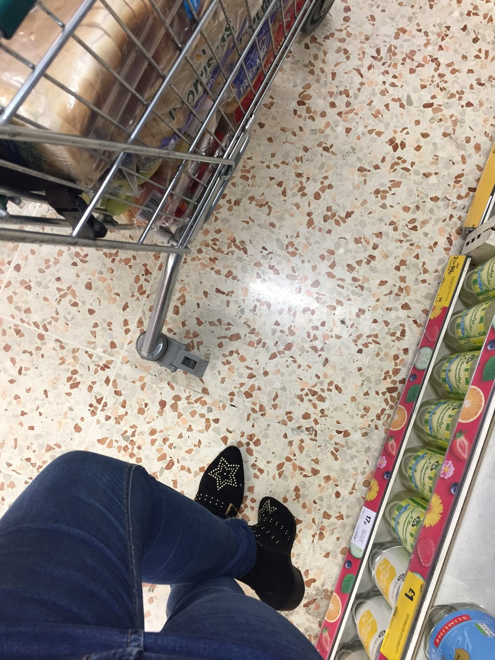Taking THOSE Primark boots for a spin in Morrisons.