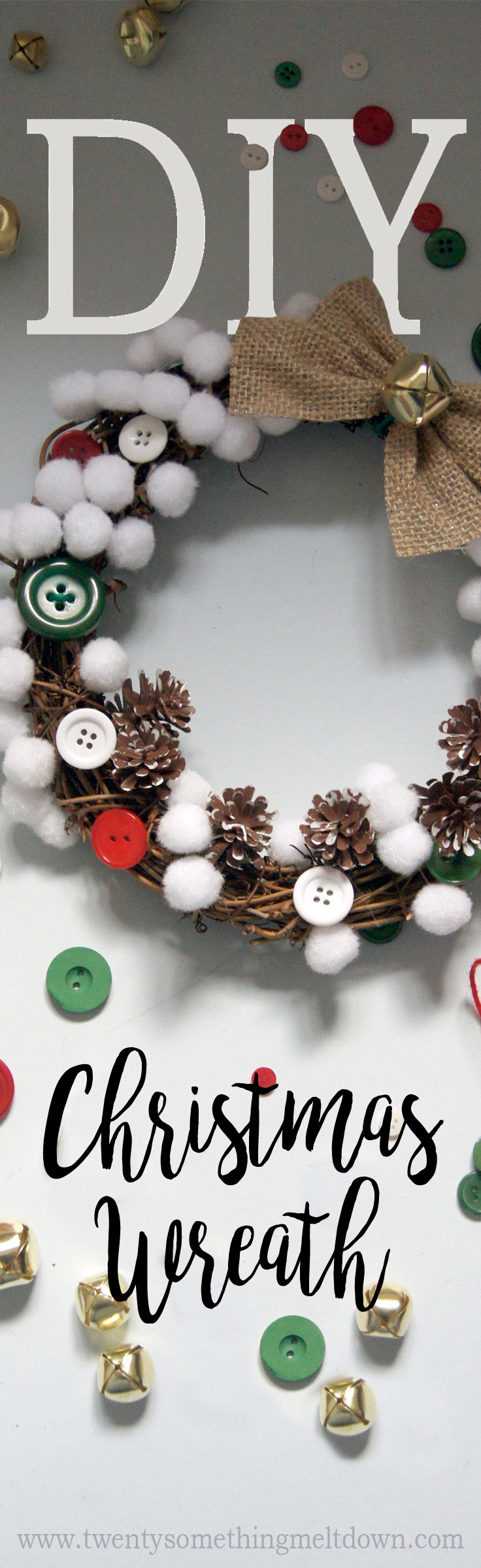 Diy christmas wreath twenty something meltdown pin me for later solutioingenieria Images