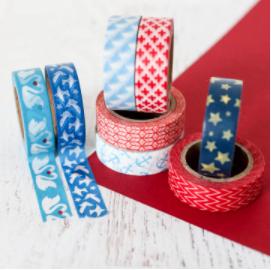 Blue Red & White Washi Tape