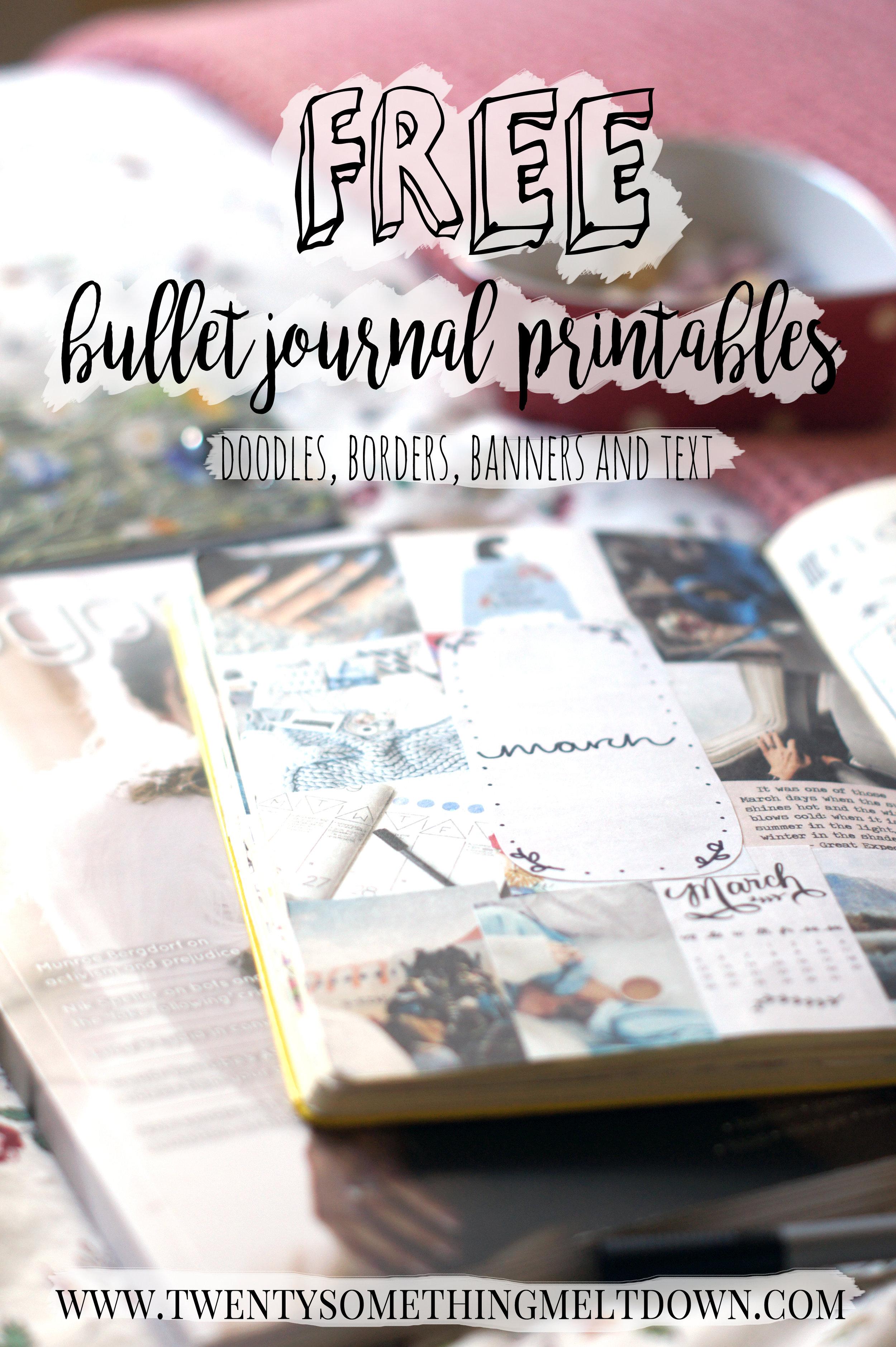 free bullet journal printables twenty something meltdown