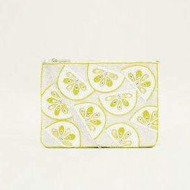 Lemon beaded clutch