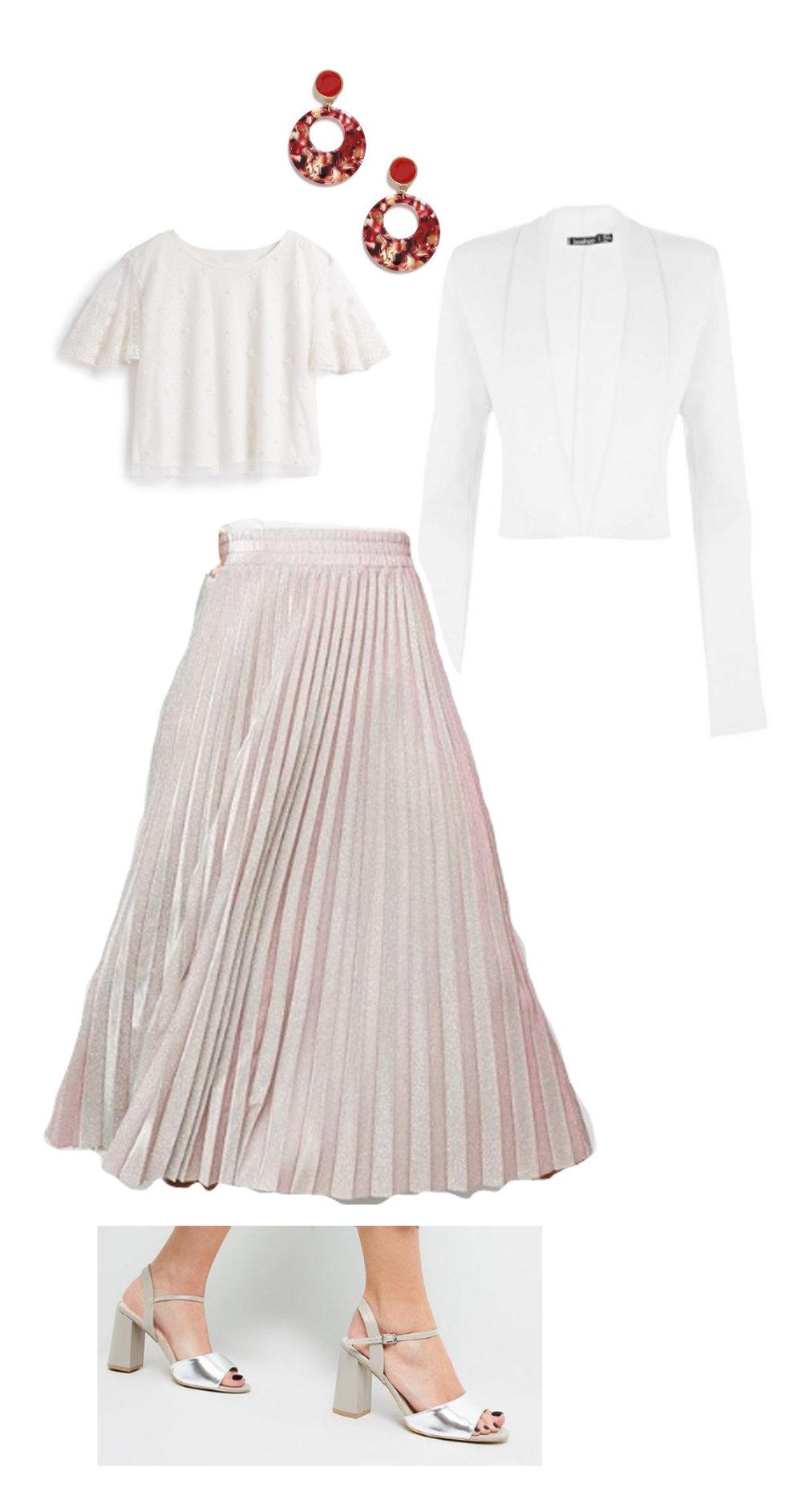 - Primark Earrings - £3.00Primark Shirt - £8.00Boohoo Blazer - £9.12New Look Skirt - £22.99New Look Heels - £22.99