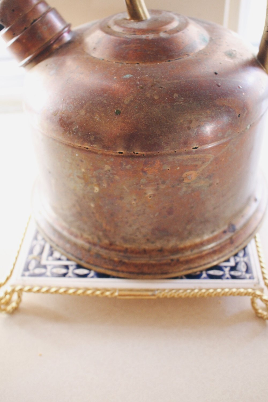 Copper kettle.