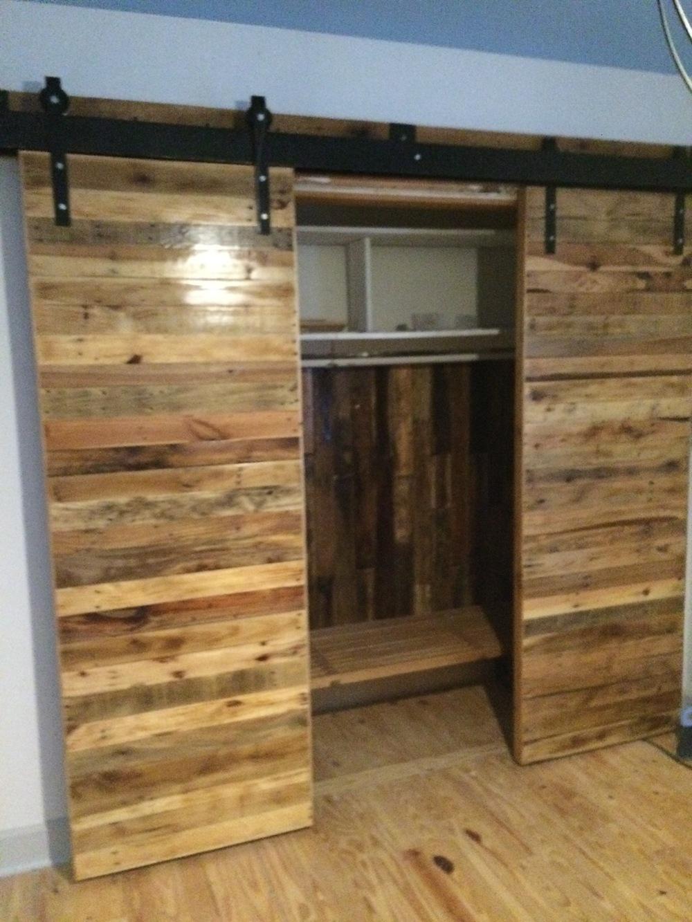 Bypass barn door closet