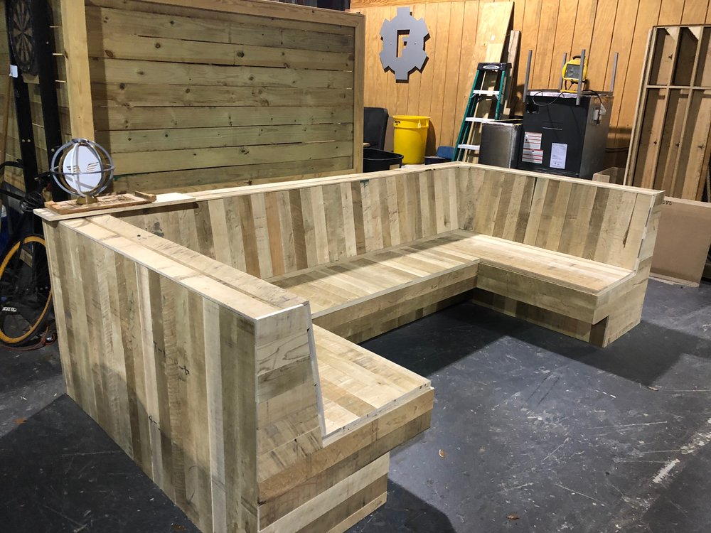 Reception booth in production for Red Bull Miami office