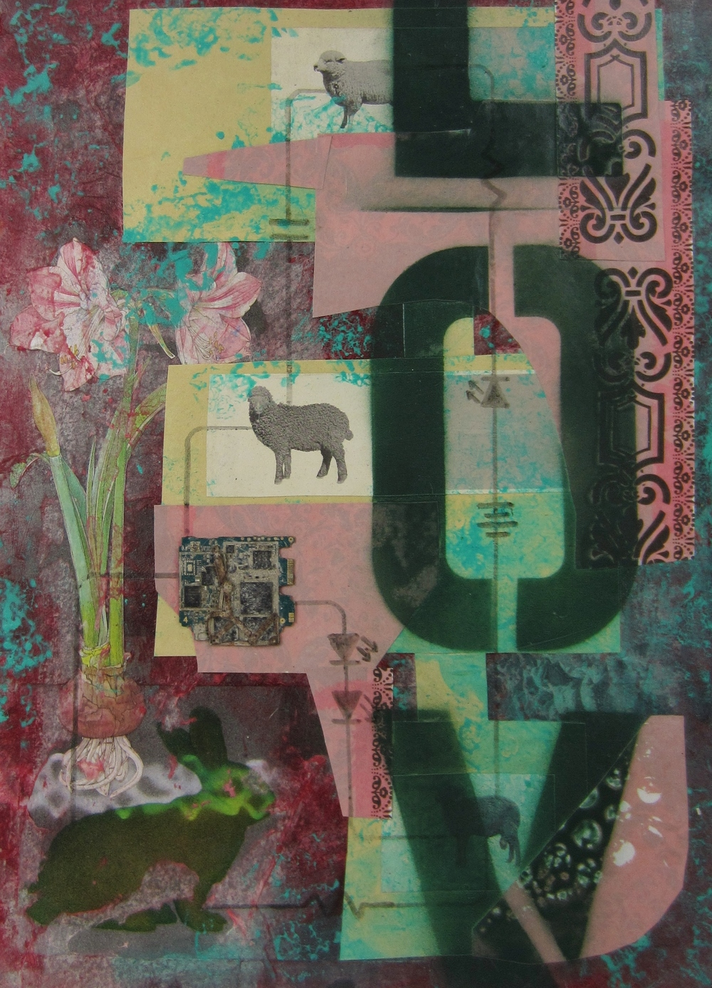 from 2013 'Mathematics of Love' series     collage, found objects, acrylic, ink