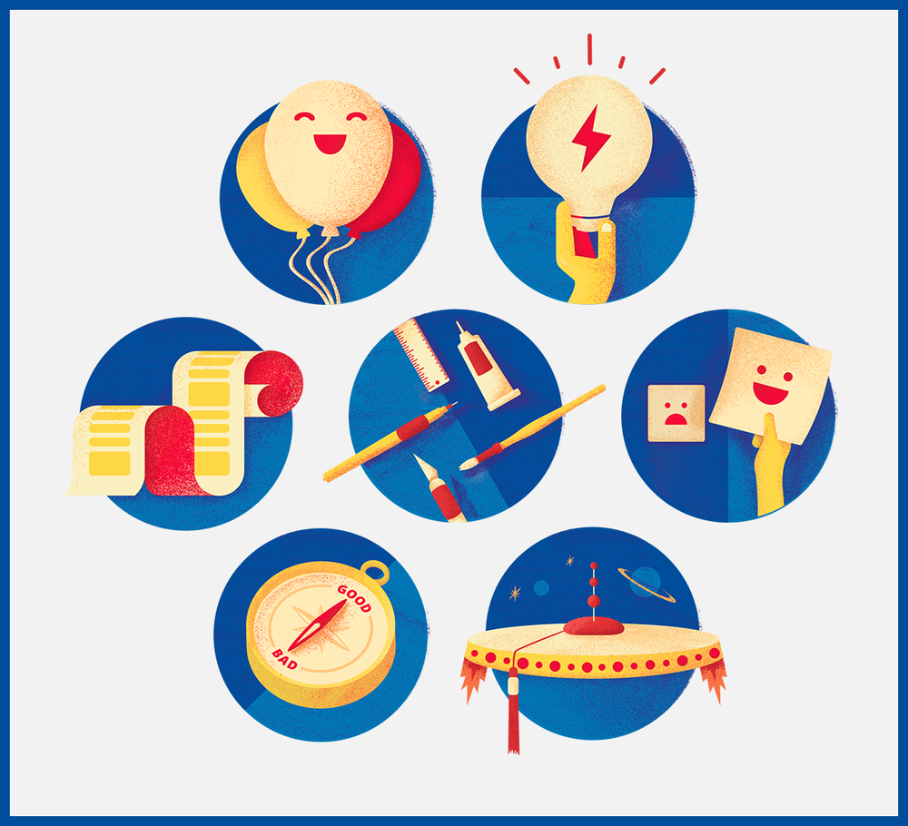 I created these spot illustrations for Google News Lab. They highlight each of the Lab's core values.