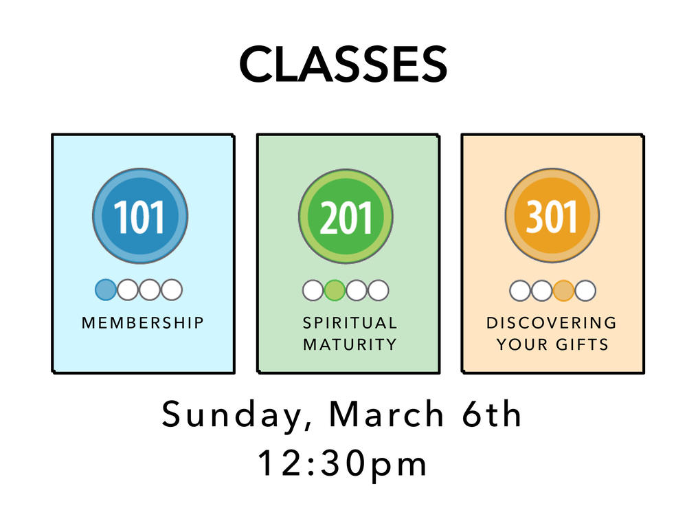BrookRidge is all about encouraging spiritual growth.  These are the classes we offer to help with this... Class 101 (Membership & info about BrookRidge)     Class 201 (Spiritual Maturity – developing habits like prayer, quiet time, and bible study) Class 301 (Discovering and developing your gifts for service) To register, email info@brookridge.org. Classes need to be taken in order, so if you've never taken Classes before, start by signing up for 101, and then move on to 201 and so on.