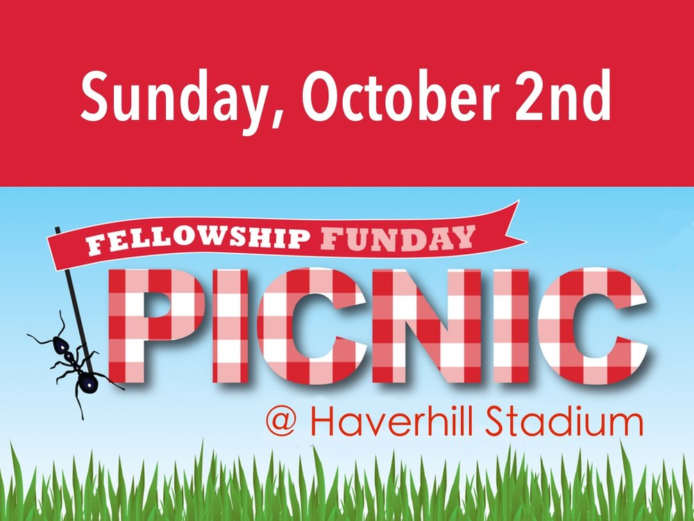 Come for worship and then head down to the Haverhill High Stadium for a time of hanging out, spending time together & playing games like softball and frisbee.  Bring a picnic lunch and any outdoor games that you'd like to play. .