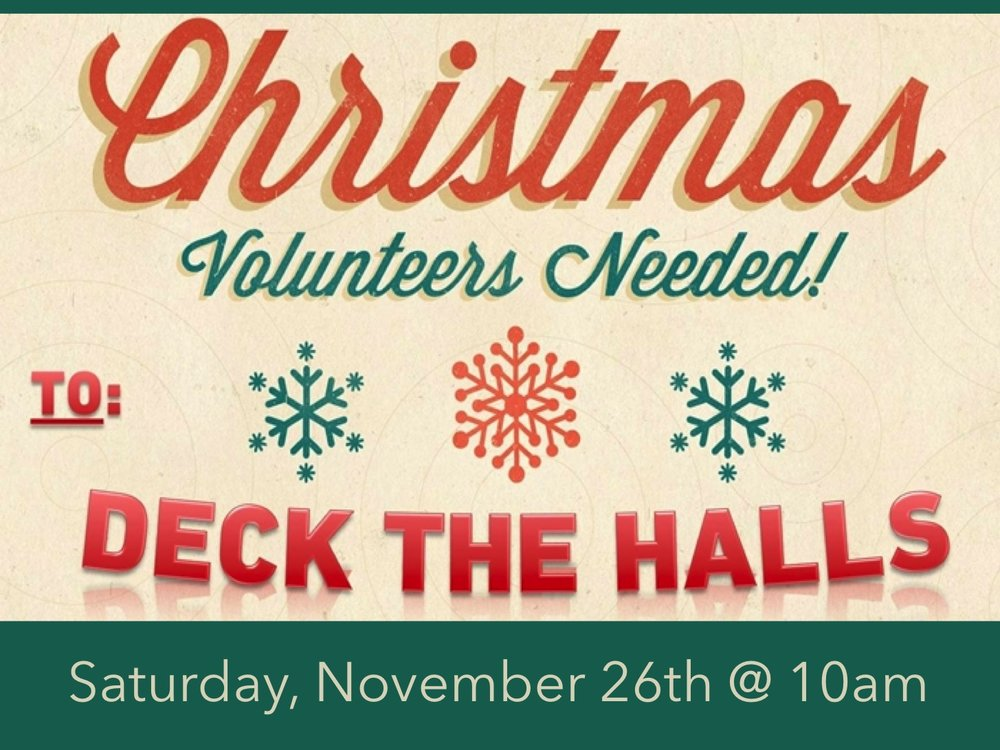 It's time to dress BrookRidge up for Christmas! Lots of hands make light work, so if you have some time on Saturday, November 26th at 10:00am, we would love for you to join us! There is a sign-up sheet in the Fellowship Hall.