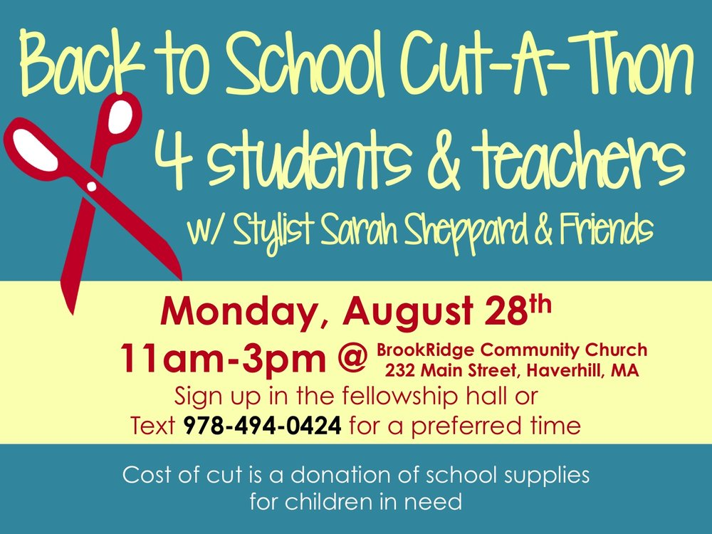Sign up for a time to get a great haircut just in time for back to school!  To pay for your haircut, all you need to bring are donations of school supplies for kids in need. The needs are specific, though, so please choose from this list: binders, notebooks, folders, pens, pencils, crayons, markers, highlighters, large backpacks (neutral colors). Sign up at the church to grab your spot!