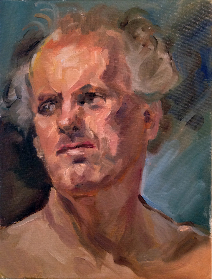 "Portrait, oil on canvas, 16"" x 12"""