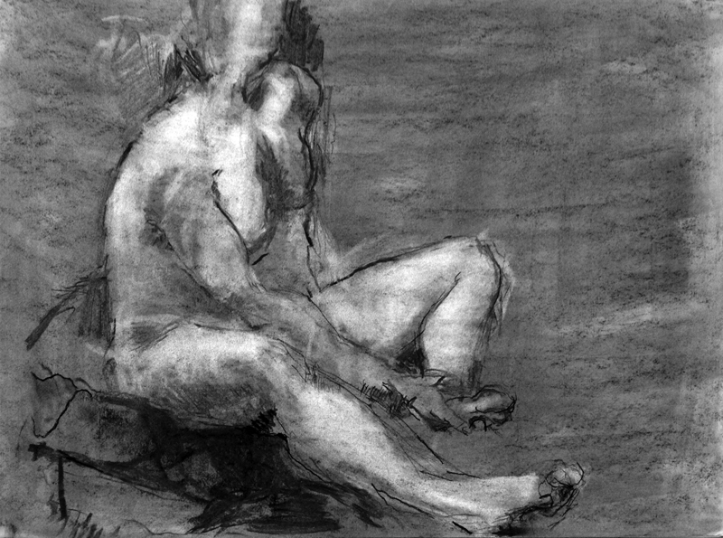 "Life Drawing, charcoal on paper, 18"" x 24"""