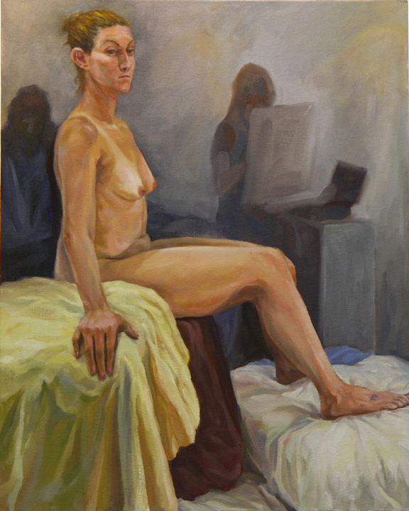 "Figure painting, oil on canvas, 24"" x 18"""