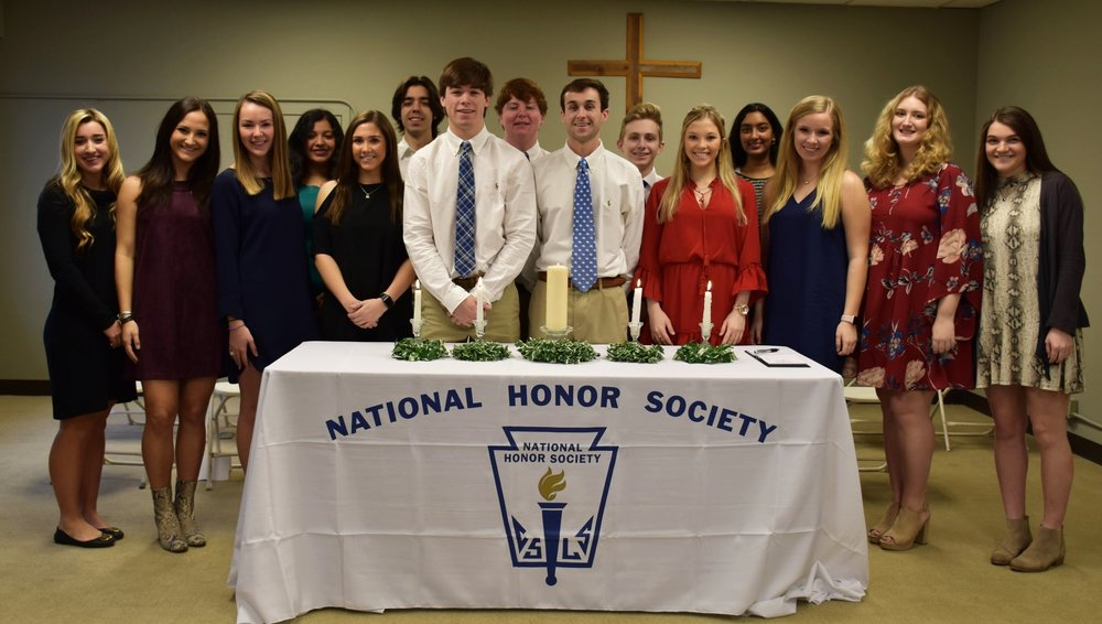 Current Members of the National Honor Society are pictured above.  Seniors: Leslie Anne Bell, President; Mary Anna Noe, Vice President; Peyton Lott, Officer of Character; Jacob Branch, Officer of Leadership; Sara Lawrence, Officer of Scholarshop; Mallory Matthews, Officer of Service; Austin Haire, Hetal Shingrani, and Michaela Wells.  Juniors: Rutledge Agostinelli, Lewis Czamanske, Ansley Fava, Shelton Johnson, Kyriam Molina, and Madeline Riddick