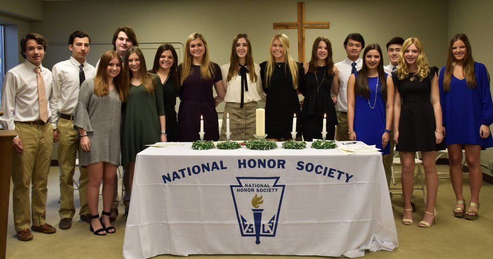 2017-2018 New Inductees into the National Honor Society are pictured above.  Seniors: Meri Finn and Sydi Moore Juniors: Crawford Allen, Leslie Scott Branch, and Hayes Flowers Sophomores: Hunt Barksdale, Sykes Connell, Lyndsey Cook, Joseph Curcio, Mary Luisa Czamanske, Mack Davis, Brooks Fyfe, Allie Middleton, Ashlynn Smith, and Landon Wong.