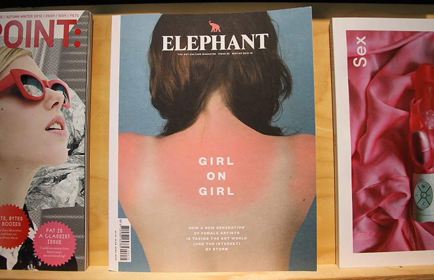 Elephant magazine (2016) designed by Astrid Stavro / Atlas displayed in the A+ exhibition at Central Saint Martins, 2016