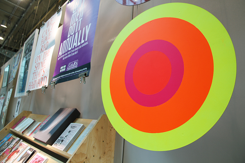 Morag Myerscough's anniversary sign for the '50 Years of the British Road Sign' project, displayed in the A+ exhibition at Central Saint Martins in 2016
