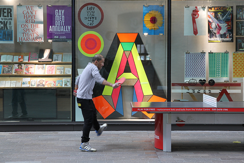 Morag Mysercough, letter A designed for Creative Review cover (2013) displayed in the A+ exhibition at Central Saint Martins in 2016